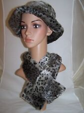 Black And Gray Faux Fur  Animal Print  Hat And Scarf Set