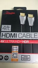 Rocketfish- 4' 4K Ultra HD and HDR In-Wall HDMI Cable - Black. New