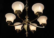 Original Art Deco Light fixture chandelier bronze & real alabaster circa 1930