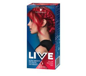 Schwarzkopf Live 2in1 Ultra Brights or Pastel Semi-Permanent Hair Pillar Box RED