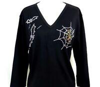 X-LARGE Black Halloween Spider In Web & Bats Rhinestone Embellished Top Shirt