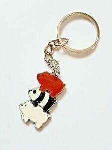 We Bare Bears Stack Panda Polar Bear Funny Metal Keychain Keyring UK