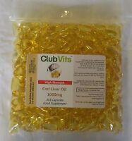 Club Vits - Hohe Festigkeit Lebertran 1000mg - 365 Kapseln