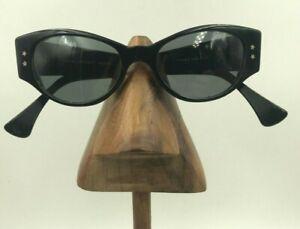 Vintage Jean LaFont Daisy 100 Black Oval Cat Eye Sunglasses France FRAMES ONLY