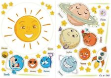 Wall Solar System Glow In The Dark Stars Planets Educational Smiley Colorful.