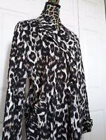 Dana Buckman Women's Cotton Spandex Leopard Print Trench Coat Trendy Jacket XL