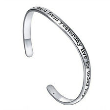 Women Silver Plated Carving Letter Bangle Inspirational Open Bracelet Jewelry EP