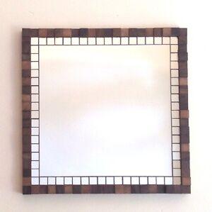 Hand-Made Mosaic Mirror & Walnut Wood Block Square 3D Art Deco Wall Panel