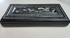 Black Laquer Asian Design Cigarette or Marijuana   Storage box collectable