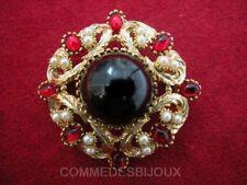 """Broche """"Rosace Ciselée"""" N° 4 Cabochon Noir Arabesques - Bijoux Vintage Sphinx"""