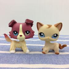2*Littlest Pet Shop LPS#1262 Plum Cream Chien Dog 1024 Caramel Hasbro Cat Toy