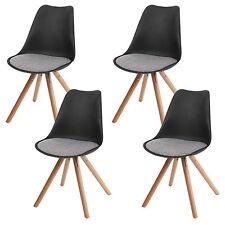 4x chaise Malmö T501, rétro ~ noir, siège tissu gris, pieds clairs
