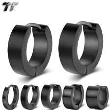 TT Black Polished S.Steel Hoop Earrings Width 2-7mm/Outer10-20mm(EH01D) 2020 NEW