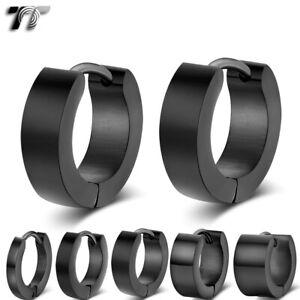 TT Black Polished S.Steel Hoop Earrings Width 2-7mm/Outer10-20mm(EH01D) 2021 NEW