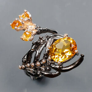 Handmade jewelry Citrine Ring Silver 925 Sterling  Size 6 /R166898