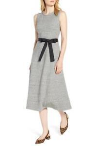 J CREW Light Gray VELVET TIE A-LINE DRESS Jersey-Knit Mid Length XXS 00