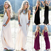 Womens Summer Beach Cover Up Sleeveless Kaftan Boho Hippie Maxi Long Sun Dress