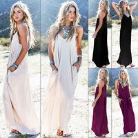 Womens Maxi Casual Beach Sundress Cocktail Sleeveless Kaftan Hippie Pocket Dress