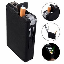 Black Automatic Ejection Butane Cigarette Lighter Case Box Holder Windproof  DP