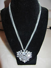 "Swarovski Crystal Fashion Necklace 18"" 7 Strand Chain 2 Black / 5 Silver * NWOT"