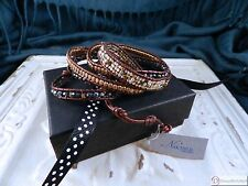 "Nakamol Leather & Czech Crystal Wrap Bracelet ~ 32"" ~ Adjustable Button Clasp"