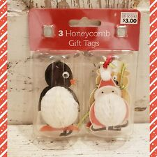 Christmas Honeycomb Gift Tags ~ SANTA ~ PENGUIN ~ REINDEER ~ NOS Target NIP
