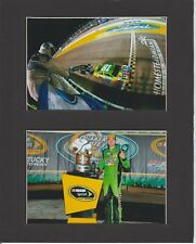 KYLE BUSCH WINS 2015 SPRINT CUP MATTED PICS OF FINISH LINE & TROPHY CELEBRATION