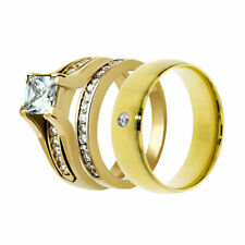 Plated Wedding Engagement Ring Band Set fr His Hers 3 Pc Men's Women's 14K Gold