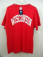 New WISCONSIN BADGERS Football T-Shirt Size Large Solid Red- 90's?