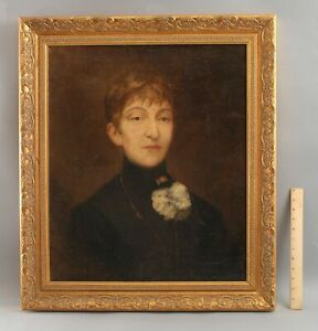 Circa-1900 Antique French Portrait Oil Painting Suffragette Eastern Star Woman