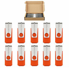 10 Pack 8GB Non-slip USB Flash Drive Swivel Memory Stick Thumb Pen Drive Orange