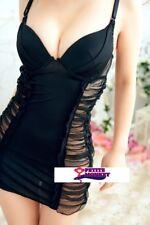 夜店黑色緊身深V透視短裙 鋼托提胸性感情趣内衣睡衣 Sexy Black Orangza Lingerie Sleeping Wear