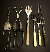 18 Antique Silver Pickle Forks, Sugar Tongs, Pastry Servers & Others.