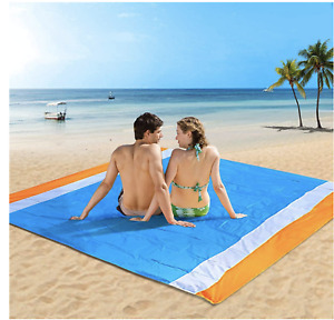 Beach Blanket 79'X'83'' Waterproof Sandproof Mat For 4-7 Adults Oversized Picnic