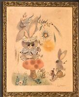 George Buckett 1963 Big Eyes Print Vintage Rabbits, Mouse, LadyBugs Framed
