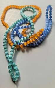 6 Strands Cats Eye Glass Beads 6 MM in Tangerine, Light Sapphire and