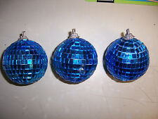 """1 pc 2"""" BLUE DISCO BALL glass mirror party favor car hanging"""