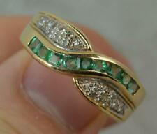 14 Carat Gold Emerald and Diamond Half Eternity Band Ring f0445