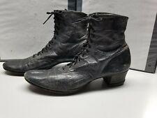 Authentic Antique ladies black Victorian high top boots/ shoes