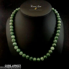 "Vintage Jadeite Jade Necklace Type A 18"" 7mm 62 Beads Strain Genuine Gemstone"