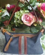 Coach Blue Denim Stripe Small  Pouch Handbag Purse Suede Stripe 6854