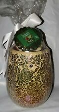 YANKEE CANDLE GOLD CRACKLE WAX MELT TART WARMER w/ 3 tarts