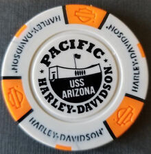 PACIFIC HD~Hawaii ~ USS ARIZONA (Gray/Orange) Harley Davidson Poker Chip