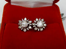 Natural Real 1 CT Round Diamond Solitaire Stud Earrings W Jackets 10k White Gold