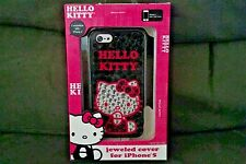 Hello Kitty Cell Phone 3-D Jeweled Bling Cover fits iPhone 5 pink black silver