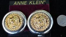 New Original Card Old Stock ANNE KLEIN Goldtone LION HEAD Clip-On Earrings #6