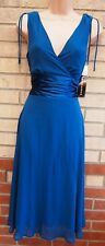 CONNECTED APPAREL TEAL V NECK BLUE SATIN A LINE FLIPPY PARTY WEDDING DRESS 10 S