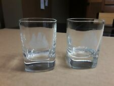 Shot Glasses With Ethched Schooner. 2 Pcs. Collectible Barware. Glassware