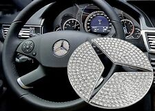 44mm Crystal Bling Steering Wheel Center Logo Diamond Decoration Mercedes Benz