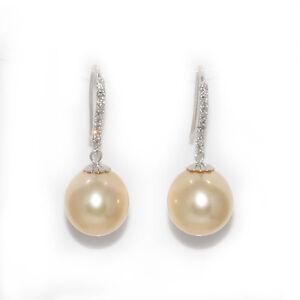 South Sea Pearl Dangle Hook AAA Flawless Earrings 14kt 11 - 12 mm